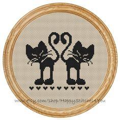 Cross Stitch Pattern PDF love cats DD0005 by HappyStitches4You