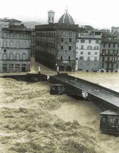 The Flood of Florence, November 4, 1966. Terrible devastation and destruction. Many works of art including the Cross of Cimabue were badly damaged, many permanently destroyed.