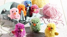 These easy DIY pom pom chicks make cute Easter decorations or gift ideas. More Easter craft ideas at tescoliving.com/making-and-doing