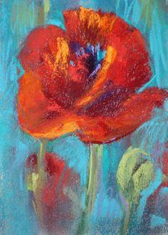 A Red Poppy 5x7 pastel -- Karen Margulis