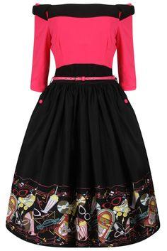 'Cara' Pink Diner Print Swing Dress - Sale