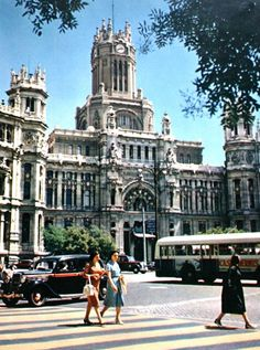 The famous Madrid Post Office (Palacio de las Comunicaciones) in the 1950s.