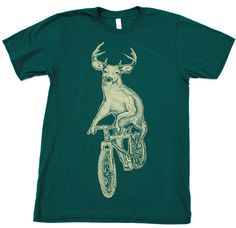 MENS BICYCLE TSHIRT Deer on a Bike Unisex by darkcycleclothing, $21.00