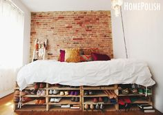 Pallet Bed Frame With Brick Wall And Storage And Bookcase Great Wood Pallet Bed Frame For Your Inspiration