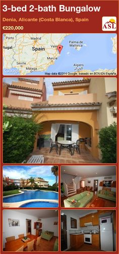 Bungalow for Sale in Denia, Alicante (Costa Blanca), Spain with 3 bedrooms, 2 bathrooms - A Spanish Life Alicante, Air Conditioning Units, Villa, Bungalows For Sale, Entrance Gates, Malaga, Water Features, Laundry Room, Terrace