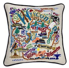 Wisconsin Hand-Embroidered Pillow