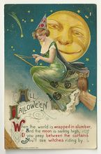 1911 Schmucker / Winsch Halloween Postcard with Beautiful Witch on Broomstick - From N Retrospect on Ruby Lane