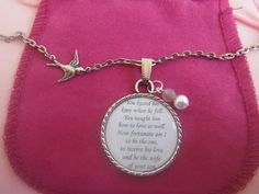 Mother In Law Gift  Wedding Birthday Thankfulness Quote In A Necklace Pendant
