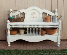 bench made from headboard/footboard with painting technique using simple spray paint.