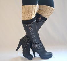 boot cuffs - cable knit beige boot cuffs boot socks boot toppers gift for her christmas gifts. $25.00, via Etsy.