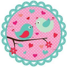 2 vogeltjes met roze stippen achtergrond | full color ...