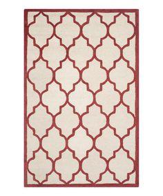 Ivory & Rust Arcata Wool Rug #zulily #zulilyfinds