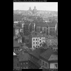 Domy a střechy starého Žižkova (3758-2) • Praha, červen 1965 •   černobílá fotografie, z Vítkova, Žižkov, střechy, komíny  • black and white photograph, Prague 