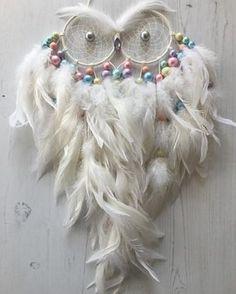 White with Pastel Accents Large Owl Dreamcatcher #mydreamcatcherlane #dreamcatchers #dreamcatcher #etsy #etsyseller #etsyuk #etsyshop…