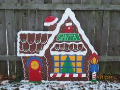 Christmas Santa's Gingerbread House Wood Outdoor Village Piece, Chirstmas Yard Art, Christmas Lawn Decoration, Christmas Outdoor Decor
