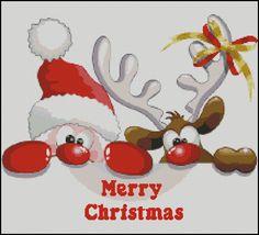 Modern Funny Santa Christmas Decoration Cross by KajuPatterns