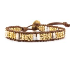 Chan Luu - Golden Shadow and Nugget Single Wrap Bracelet on Natural Brown Leather, $170.00 (http://www.chanluu.com/bracelets/golden-shadow-and-nugget-single-wrap-bracelet-on-natural-brown-leather/)