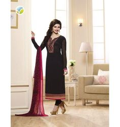 Awesome Designer Vinay Sikina Straight Suit In Black Color