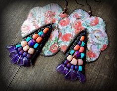 natural amethyst earrings, wire wrapped boho earrings, distressed tin, big pink flowers, oxidized copper, colorful ethnic beaded jewelry by anainc on Etsy https://www.etsy.com/listing/475586533/natural-amethyst-earrings-wire-wrapped
