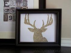 So easy!  Glitter Deer Head Silhouette...Simple, pretty winter decor