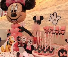 Pink Minnie Mouse birthday party! See more party ideas at CatchMyParty.com!