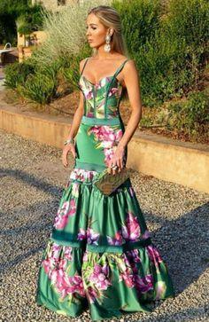 Mermaid Spaghetti Straps Green Printed Satin Prom Dress