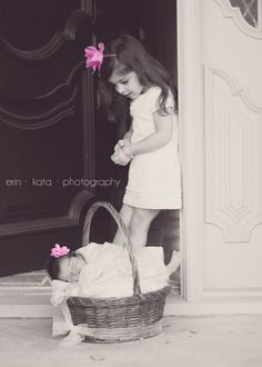 A unique idea for newborn photography. She is so excited to have a baby sister!