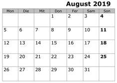 August Kalender Stile 2019 Zum Ausdrucken August Kalender, Periodic Table, Academic Calendar, Periodic Table Chart, Periotic Table