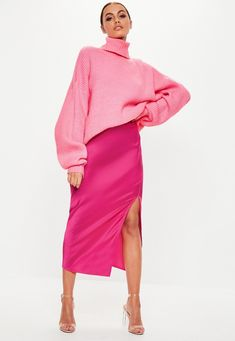9a429f199c Missguided - Pink Satin Slip Midi Skirt Satin Slip, Pink Satin, Missguided,  Midi
