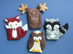 Wild Animal Finger puppets, there is also a tree with this set. Felt Puppets, Felt Finger Puppets, Felt Crafts, Fabric Crafts, Sewing Crafts, Finger Puppet Patterns, Art Textile, Felt Quiet Books, Felt Toys