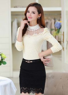 Women's #beige long sleeve lace #top cartoon floral hollow cut design, high neckline, Pull over.
