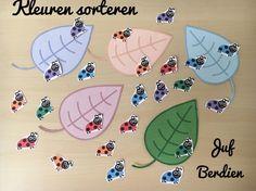 Juf Berdien: zelfgemaakt kleuren sorteerspelletje kriebeldiertjes thema lieveheersbeestjes