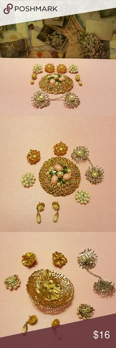 Vintage jewerly Clip-on earnings, pierced ear earnings, large broch, 2 matching pins, and sweater clip. Jewelry Earrings