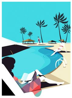 Tu recepcja - Illustrations by Pietari Posti Inspired by the. Beach Illustration, Graffiti Drawing, 36 Days Of Type, Pictures To Draw, Creative Studio, Character Illustration, Line Drawing, Travel Posters, Vintage Posters