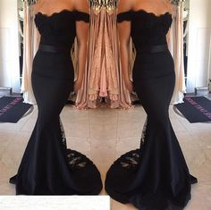 Find More Bridesmaid Dresses Information about Bridesmaid Dress 2016 Black Lace Train Floor Length Off Shoulder Mermaid Belt Hot Full Length Maid of Honor Wedding Party Dress,High Quality dresses for attending wedding,China dresses chicago Suppliers, Cheap dress up women and girls from TONY GOWN on Aliexpress.com
