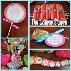 >Stella's Lollipop Shoppe! Retirement Parties, First Birthday Parties, 3rd Birthday, First Birthdays, Birthday Ideas, Lollipop Birthday, Lollipop Party, Sweet Peach, Candyland