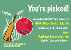 A personalised Cricket party invite perfect and unique to complement your childs birthday party theme. For a full range of different party theme invites visit www.justthecard.co.uk