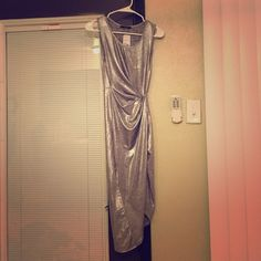 Metallic dress Metallic silver with side slit Forever 21 Dresses Midi