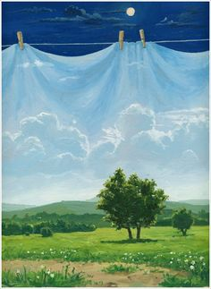green - day and night - painting - Vitaliy Urzhumov Clothes Lines, Surrealism Painting, Magic Realism, Over The Rainbow, Surreal Art, Art Techniques, Art Forms, Artsy Fartsy, Collages