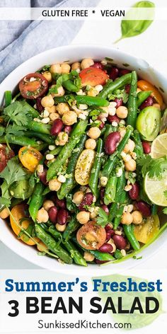 A healthy 3 bean salad recipe with corn, this makes the perfect vegan summer meal! A great side dish for gatherings. Vegan 3 Bean Salad, Bean Salad Recipes, Corn Recipes, Good Healthy Recipes, Whole Food Recipes, Great Recipes, Fabulous Foods, Kitchen Recipes, Vegan Gluten Free