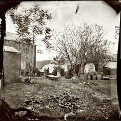 """""""May 1864. Fredericksburg, Virginia. Cooking tent of the U.S. Sanitary Commission."""" Photograph from the main Eastern theater of war, Grant's Wilderness Campaign, May-June 1864. Wet plate glass negative by James Gardner."""