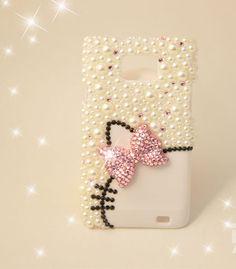 samsung galaxy s2 i9100 case - Crystal Samsung Galaxy SII S2 I9100 case - Samsung i9100 case - Cute bow Samsung galaxy i9100 case Kitty cat. $19.98, via Etsy.