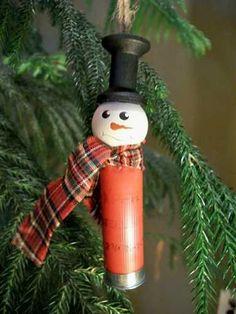 Shotgun Shell Snowman Ornament