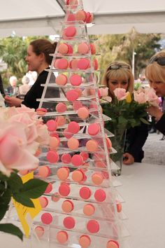 Ombre Pink Wedding Party Macarons, DIY Macaron Tower For Party Dessert Table, Pa… – Party Ideas – Diy Macaron Tower, Macaron Stand, Pastry Display, Cookie Display, Cupcake Display, Dessert Party, Party Desserts, Dessert Tables, Macarons