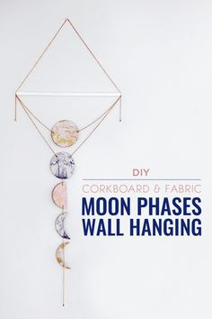 DIY Corkboard & Fabric Moon Phases Wall Hanging | CommonCanopy.com