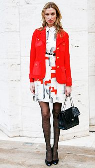 Opt for a pretty print dress with a military-inspired jacket. #fashion #brights