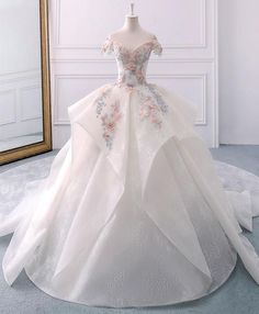 Ball dresses - White sweetheart off shoulder lace long prom dress, white evening dress – Ball dresses Wedding Dresses With Flowers, Wedding Dresses 2018, Quinceanera Dresses, Prom Dresses, Formal Dresses, White Dress With Flowers, Flapper Dresses, Bridesmaid Gowns, Lace Flowers
