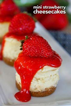 These mini strawberry cheesecakes are the perfect bite size desserts. Mini cheesecake recipe topped with delicious strawberry sauce. #strawberry #strawberries #cheesecake #minicheesecake #dessert #recipe #berries #summer #strawberrycheesecake