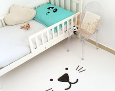 Cat Kids Rug / Monochrome Kids Room / PVC Rug / Kids Decor / Decorative Floor Rug / Kids Mat / Minimal Nursery / Unisex Toddler Room