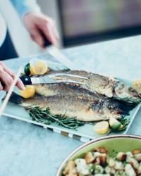 Looking for a whole roasted fish recipe try the Roasted Branzino with Caper Butter from www.foodandwine.com